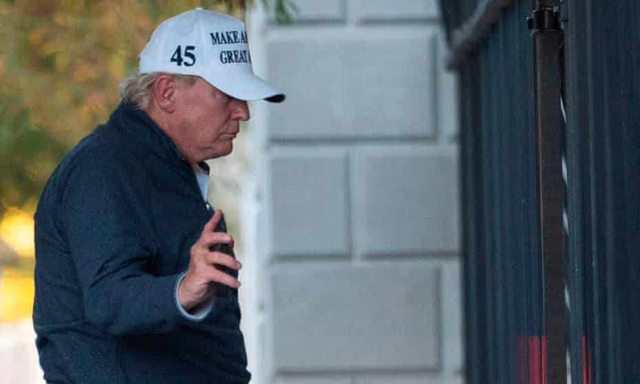 President Donald Trump returns to the White House from playing golf on Saturday.