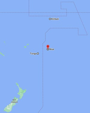 Google Maps locator showing the small island nation of Niue on one side of the international date late, while neighbours Tonga, New Zealand and Kiribati sit on the other.