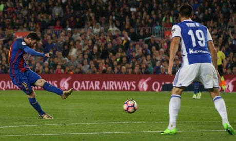 Lionel Messi scores twice in Barcelona's laboured win over Real Sociedad