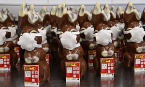 A view at the production of chocolate bunnies with face masks in the confectionery Richner, in Veltheim, Switzerland, 7 April 2020.