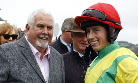 The late Alan Potts and the jockey Bryan Cooper after Finian's Oscar won at Chepstow last month.