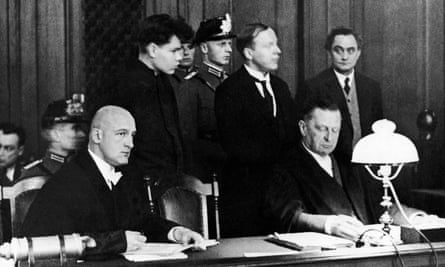 Van Der Lubbe at Reichstag fire trial, behind, on the right, Georgi Dimitroff, also accused, November 1933.