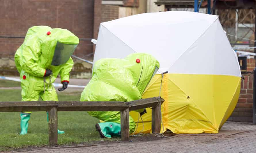 A tent is secured over the bench in Salisbury where Sergei and Yulia Skripal were found critically ill.