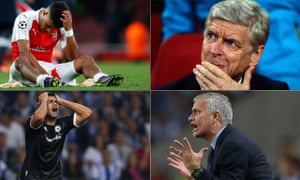 Clockwise: Alex Oxlade-Chamberlain and Arsène Wenger suffer on a dreadful night for Arsenal, and there was misery for Chelsea's José Mourinho and Diego Costa too.
