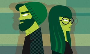 A cartoon drawing in green and black of two hipsters attracted to each other giving sideways glances
