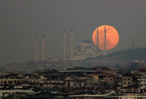 The Çamlıca Mosque in Istanbul in front of the Snow Moon - named for the time of year at which it appears.