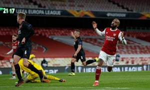 Alexandre Lacazette despairs after hitting the woodwork.