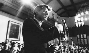 Robert Kennedy: after the boos, a rousing reception.