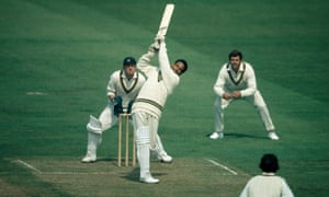 Sir Garry Sobers batting for Nottinghamshire in action in 1971.