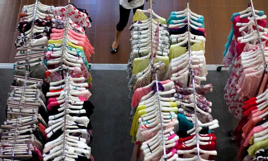 Rails in a clothes shop