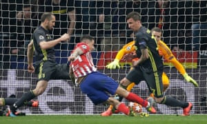 Atletico Madrid's Jose Gimenez fires in their first goal.