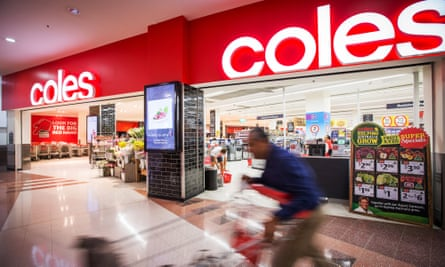 Shoppers in a Coles supermarket