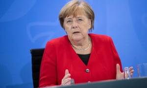 Angela Merkel addressing the media at a press conference on Wednesday.