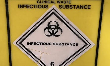 An infectious waste container at a London hospital.