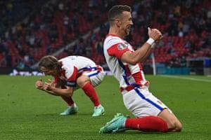 Perisic (right) celebrates his goal with Luka Modric.
