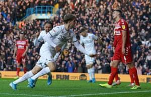 Leeds United's Patrick Bamford celebrates after scoring early.