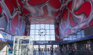 The entrance hall of Graz central station, with interior by Peter Kogler.