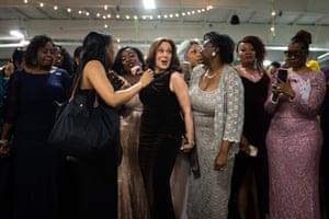 Kamala Harris mingles with attendees at an Alpha Kappa Alpha gala in Columbia, South Carolina, on 25 January.