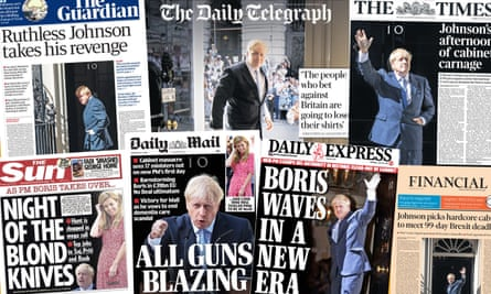 Composite of the front pages of the British papers on Thursday 25 July after incoming Prime Minister Boris Johnson cleared cabinet.