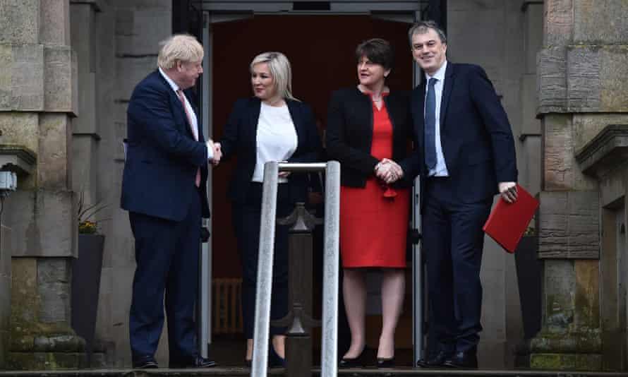 Boris Johnson, Sinn Féin's Michelle O'Neill, Arlene Foster of the DUP and Northern Ireland secretary Julian Smith at Stormont.