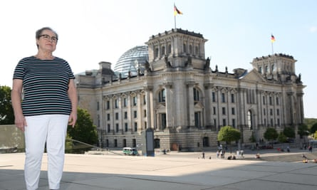 Regina Herrmann outside the Reichstag in Berlin.