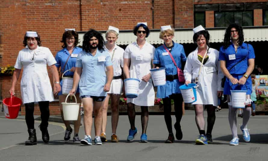 The men from Ludlow Brewing Company who dressed as nurses and raised £2,500 for the Hospital League of Friends.