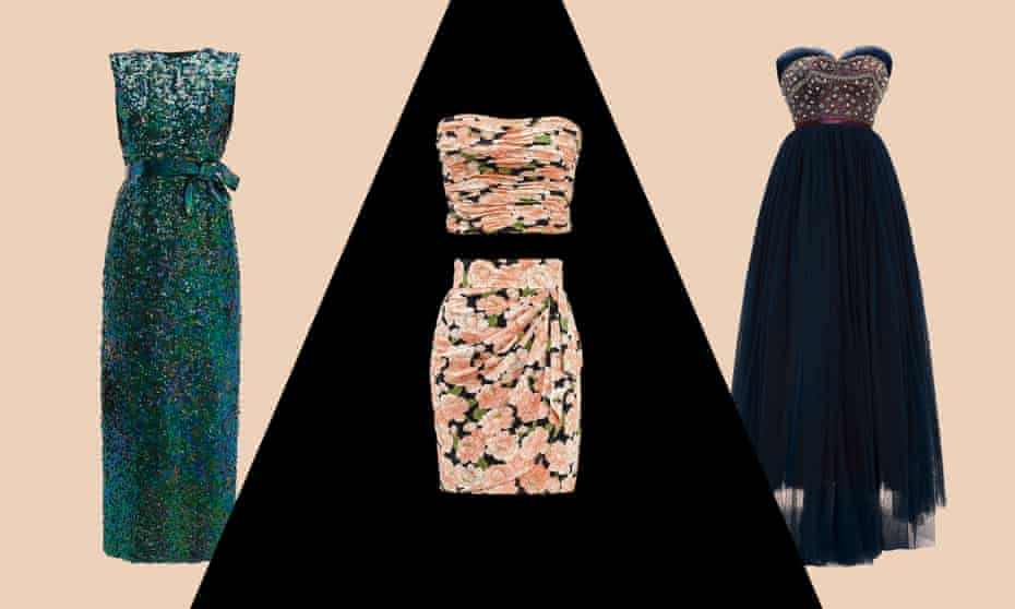 From left: Norman Norell 1965 sleeveless evening dress, Azzaro floral skirt and matching bustier top and Jacques Heim 1955 haute couture beaded dress.