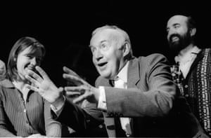 Julia Ford, Jim Norton and Kieran Ahern in The Weir by Conor McPherson, directed by Ian Rickson, in 1997.