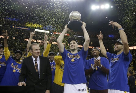 The Warriors celebrate after winning the western conference finals.