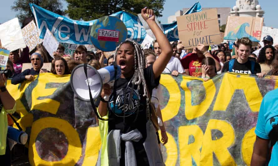 Young people at the DC Climate Strike March in Washington DC, on 20 September 2019 as they become more active around the perils of the climate crisis.