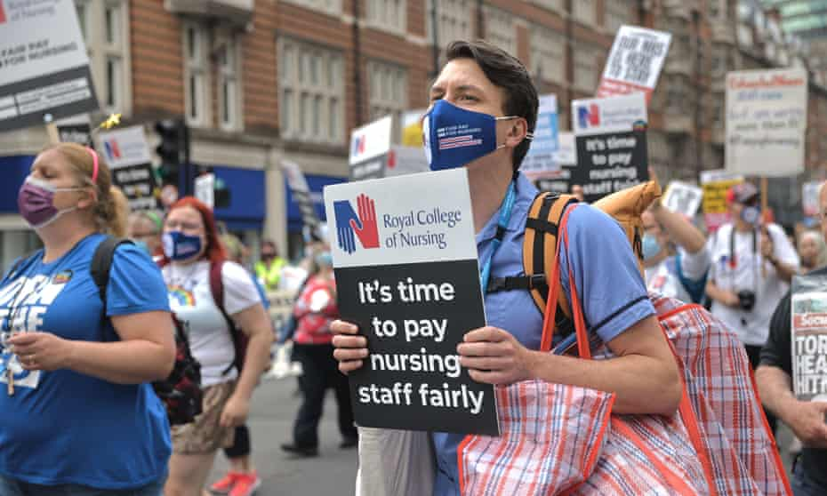 NHS workers protest in London, 3 July 2021.