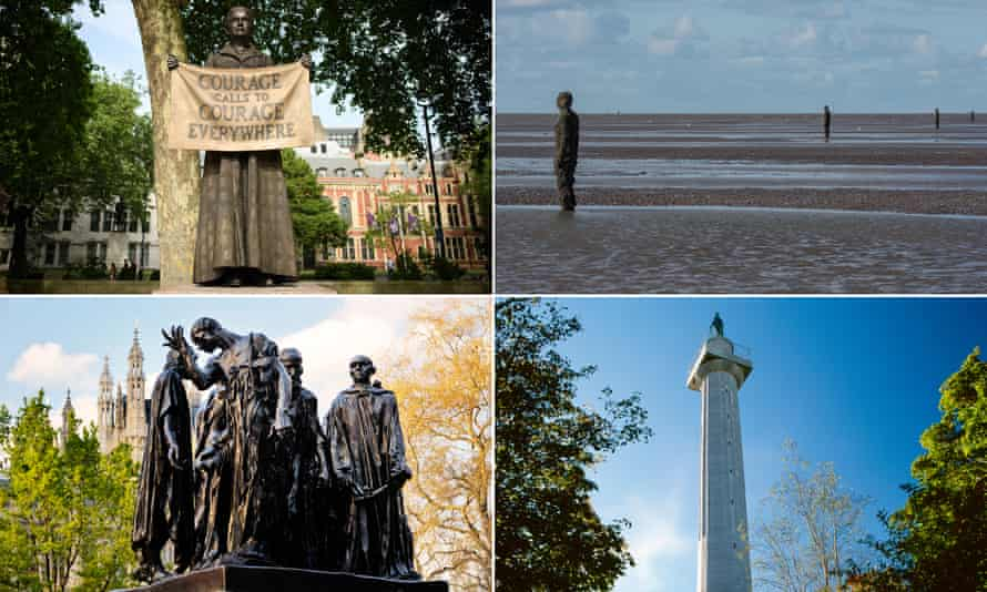 Clockwise from top left: Millicent Fawcett , Antony Gormley's figures on Crosby Beach, the Marquess of Anglesey's Column, Rodin's Burghers of Calais.