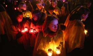 Young people participate in a Chernobyl ceremony