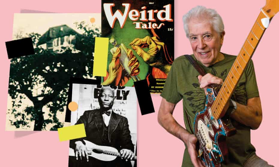 John Mayall and (from left) his tree house, Lead Belly and a copy of Weird Tales