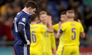 A dejected Oliver Burke after the final whistle in Astana.