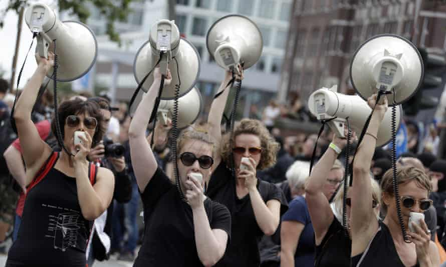 A protest against the G-20 summit in Hamburg: campaigning can be uncomfortable for those in authority but is an essential part of democracy.