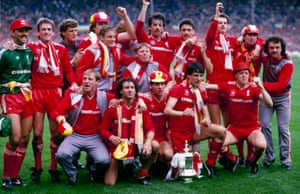 Liverpool players celebrate being their triumph.