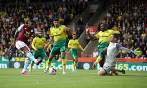 Wesley opens the scoring for Aston Villa against Norwich.