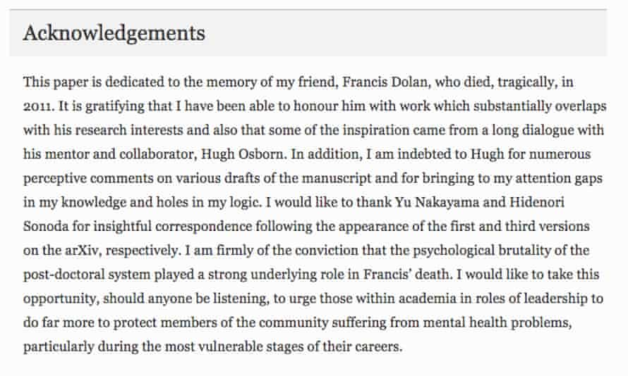 Acknowledgement that appears in Oliver Rosten's recent EPJ C paper.