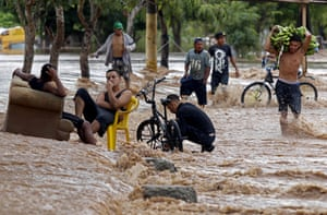 El Progreso, Honduras. A flooded street in the department of Yoro, after the passage of Hurricane Iota, now downgraded to a tropical storm