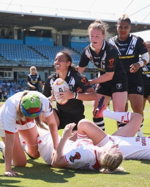 New Zealand's Honey Hireme celebrates one of her three tries in the win against England in the 2017 World Cup semi-final.