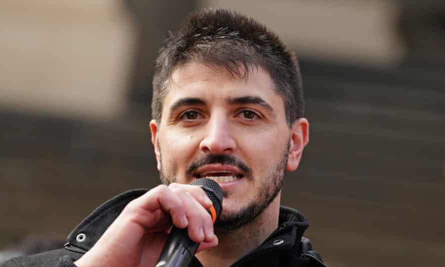 Fanos Panayides speaks at an anti-lockdown rally in Melbourne in May. The former contestant on the reality TV show Family Food Fight is one of four people charged with incitement over a planned anti-lockdown protest in Ballarat.