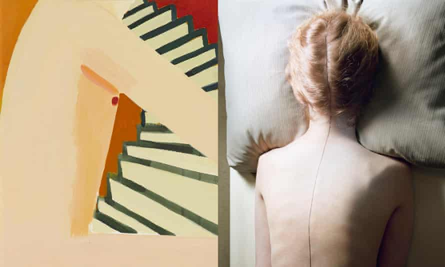 Left, Gabriella Boyd's Very inadequately dressed I am making my way from a ground floor flat up the stairs to a higher floor 2015; and, right, UNtitled (Woman with Black Line) by Jo Ann Callis.