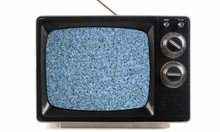Vintage television with snow bands and patterns isolate over white. Image shot 2009. Exact date unknown.