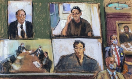 An artist's impression of Ghislaine Maxwell appearing via video link during her arraignment hearing in court in Manhattan on Tuesday.