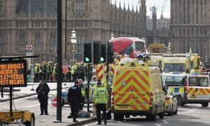 Police at the scene of last year's Westminster terror attack.