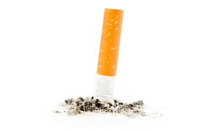 Cigarette extinguished against a white background
