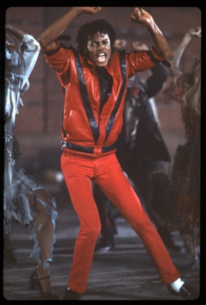 This tiny-waisted, leather-jacketed look from the 1982 video for Thriller is one of Jackson's best known, and most emulated. The look is as popular for Halloween as it is in high-fashion – from Maison Margiela's autumn/winter 2008 collection to, more recently, next season's Balmain menswear collection by Olivier Rousteing, which was an ode to the Prince of Pop's style, white socks and all.
