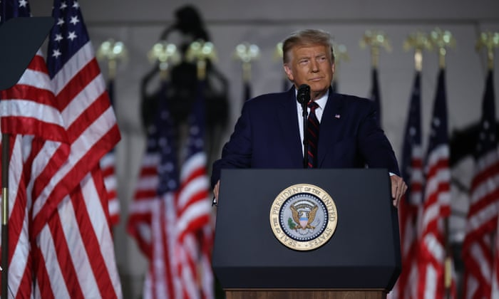Donald Trump pushes falsehoods about Nato, border wall and coronavirus in RNC speech – live