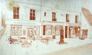 Sketches of the proposed cafe drawn by James King, a writer in residence, in the 1980s.